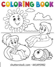 Coloring book children in swim rings 1 - eps10 vector illustration.