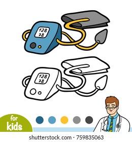 Coloring book for children, Tonometer for blood pressure measurement