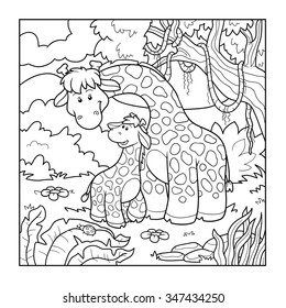 Cartoon And Vector Isolated Character On Background Coloring Book For Children Two Giraffes