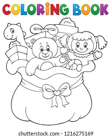 Coloring book Christmas bag topic 1 - eps10 vector illustration.