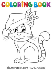 Coloring book Christmas cat theme 2 - eps10 vector illustration.