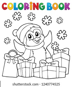 Coloring book Christmas penguin topic 2 - eps10 vector illustration.