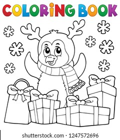Coloring book Christmas penguin topic 5 - eps10 vector illustration.