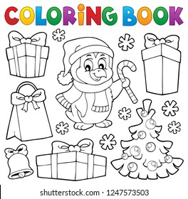 Coloring book Christmas penguin topic 4 - eps10 vector illustration.