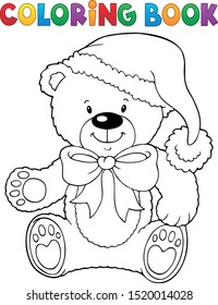 Coloring book Christmas teddy bear vector illustration.