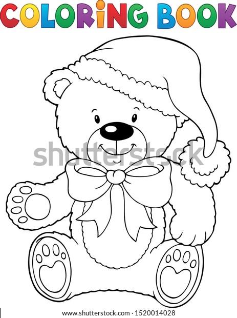 Coloring Book Christmas Teddy Bear Vector Stock Vector (Royalty Free)  1520014028