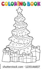 Coloring book Christmas tree and gifts 2 - eps10 vector illustration.