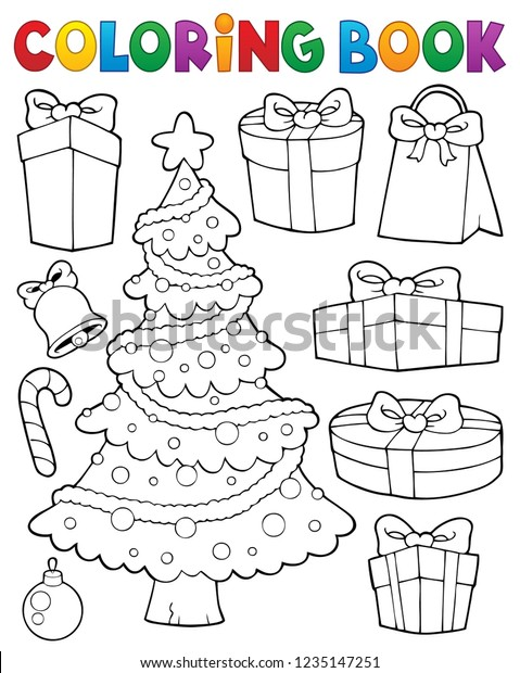 Coloring book Christmas tree and gifts 1 - eps10 vector illustration.