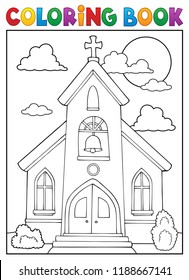 Coloring book church building theme 1 - eps10 vector illustration.
