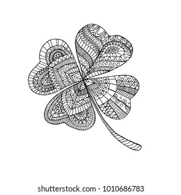 Coloring book clover, on St. Patrick's Day. Isolated pattern. Hand drawn vector sign luck. Anti stress  ethnic bohemian background. Vintage decorative element. Indian doodle motifs.