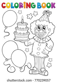 Coloring book clown holding cake - eps10 vector illustration.