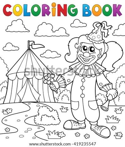 Coloring Book Clown Near Circus Theme Stock Vector (Royalty Free ...
