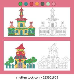 Coloring book with a contour and color example. Fairy house: fruit shop, clothing store.