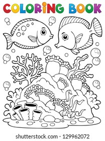 Coloring book coral reef theme 1 - vector illustration.