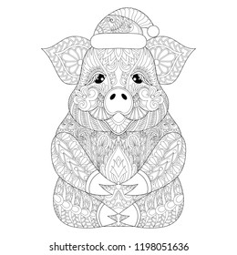 Coloring Book cover with happy Pig for New Year 2019. Adult coloring pages with zentangle detailes. Swine with Christmas hut for antistress drawing. Hand drawn sketch of Hog with doodle elements.