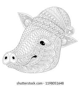 Coloring Book cover with Pig face. Adult coloring pages with zentangle detailes. Swine with Chriastmas hut for colouring antistress drawing. Hand drawn monochrome sketch of Hog. Vector animal.