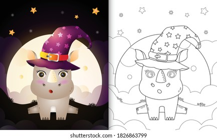 coloring book with a cute cartoon halloween witch rhino front the moon