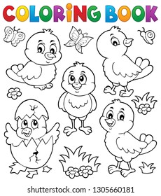 Coloring book cute chickens topic set 1 - eps10 vector illustration.