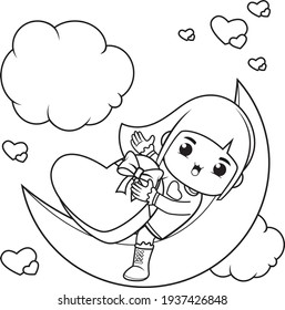 Coloring book cute girl holding a heart
