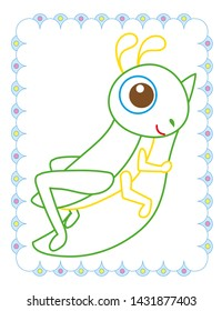 Coloring book of cute grasshopper on white background