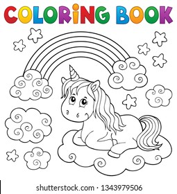 Coloring book cute unicorn topic 1 - eps10 vector illustration.