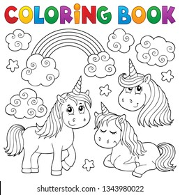 Coloring book cute unicorns 1 - eps10 vector illustration.