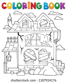 Coloring book derelict house theme 1 - eps10 vector illustration.