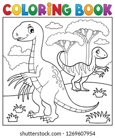 Coloring book dinosaur subject image 4 - eps10 vector illustration.