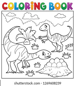 Coloring book dinosaur subject image 2 - eps10 vector illustration.