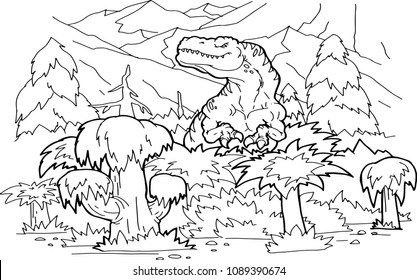 Coloring book dinosaur vector illustration.