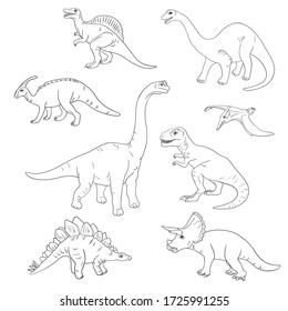 Coloring book with dinosaurs. Vector illustration. Sketch hand drawn. Graphics. Black and white