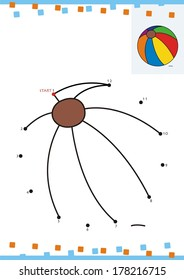 Coloring book dot to dot. The ball
