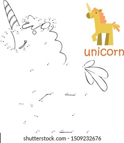 Coloring book and dot to dot game for children. Numbers game. unicorn vector illustration