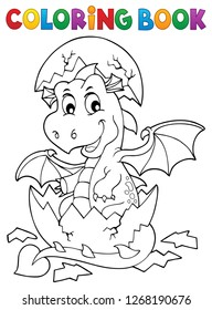 Coloring book dragon hatching from egg 1 - eps10 vector illustration.