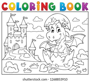 Coloring book dragon hatching from egg 2 - eps10 vector illustration.