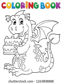 Coloring book dragon holding cake 1 - eps10 vector illustration.