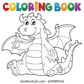 Coloring book dragon theme image 6 - eps10 vector illustration.