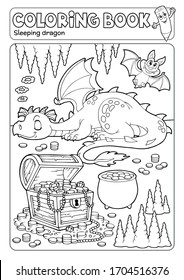 Coloring book dragon and treasure chest - eps10 vector illustration.
