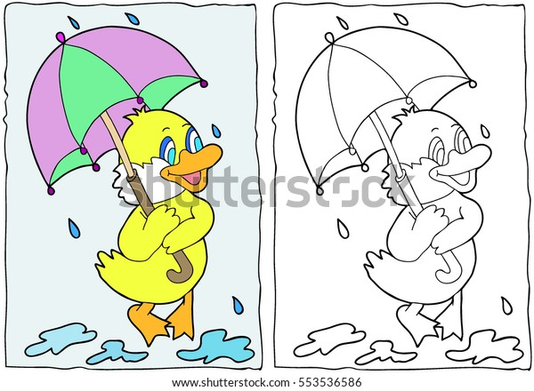Coloring Book Duck Umbrella Hand Drawn Stock Vector Royalty Free 553536586
