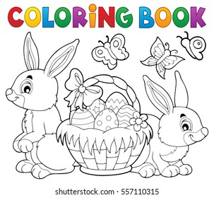 Coloring book Easter basket and rabbits - eps10 vector illustration.