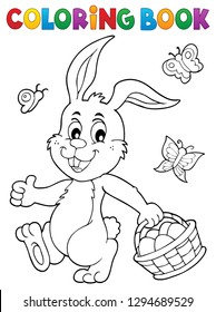 Coloring book Easter rabbit topic 1 - eps10 vector illustration.