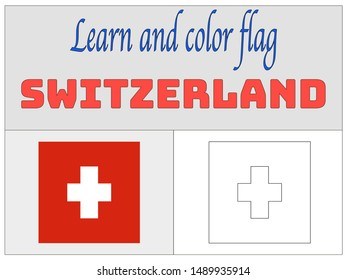 Coloring Book for Education and learning Beautiful national flag of Swiss Confederation, know as Switzerland. original colors and proportion. Simply vector illustration eps10, from countries flag set.