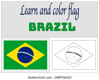 Coloring Book for Education and learning National flag of Federative Republic of Brazil. original colors and proportion. Simply vector illustration, from countries flag set.