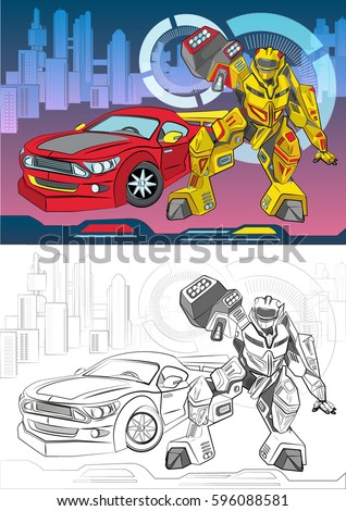 Coloring Book Electronic Mechanisms Outline Vector Stock Vector ...