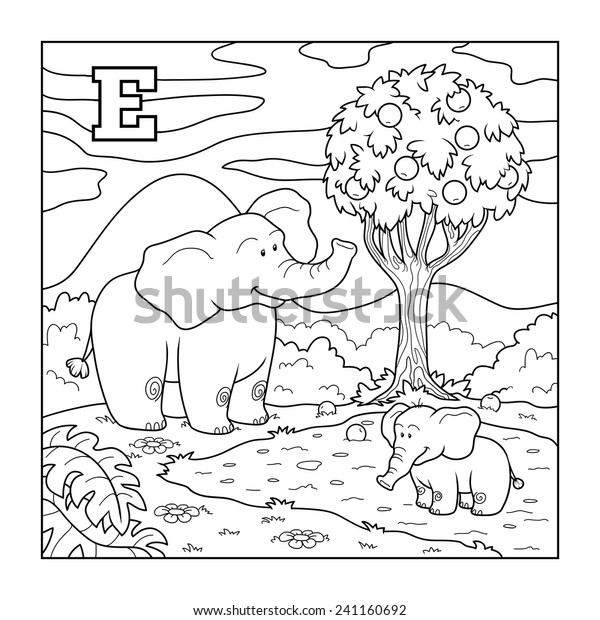 Coloring Book Elephant Colorless Alphabet Children Stock Vector Royalty Free 241160692