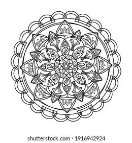 Coloring book. Energy mandala, sacred geometry, meditative multicolored drawing, Hand drawn vector illustration