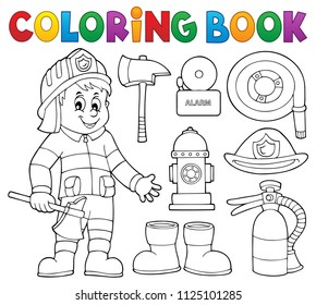 Coloring book firefighter theme set 2 - eps10 vector illustration.