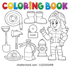 Coloring book firefighter theme set 1 - eps10 vector illustration.