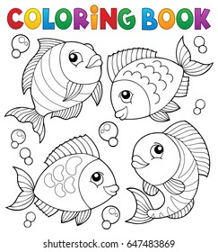 Coloring book with fish theme 4 - eps10 vector illustration.