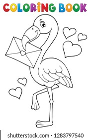 Coloring book flamingo with love letter - eps10 vector illustration.